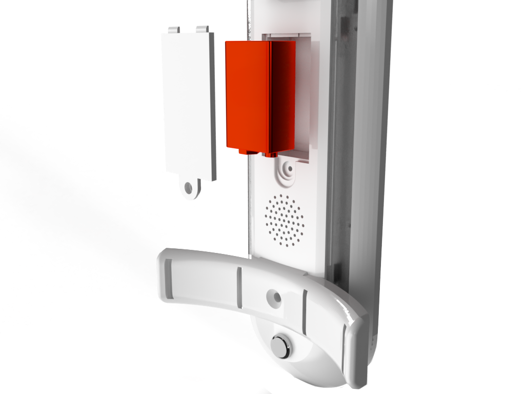 fire extinguisher monitoring system bracket featuring a 9v battery insert